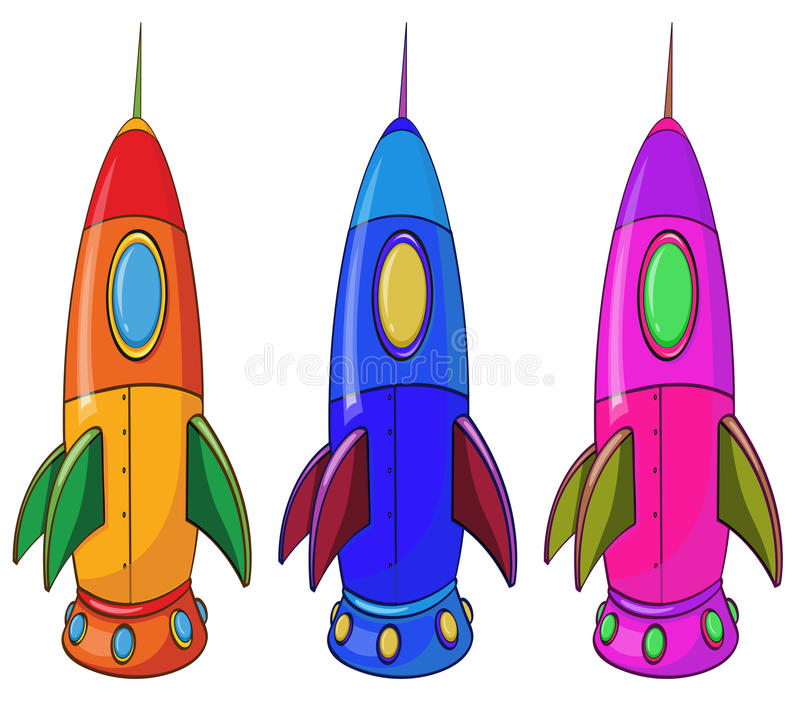 Three colorful spaceships. Illustration of the three colorful spaceships on a white background royalty free illustration