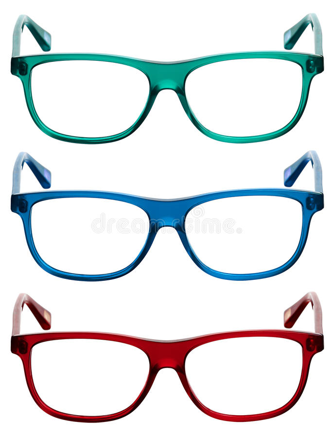 Three colorful sunglasses or eye glasses frames stock images