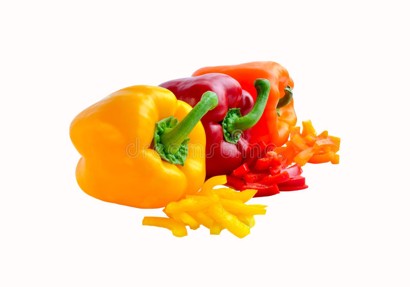 Download Three Colorful Whole And Chopped Bell Peppers Stock Photo - Image of close, nature: 23815714