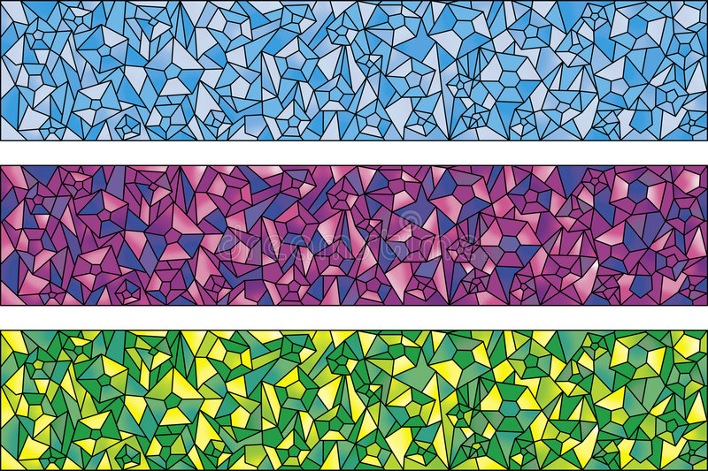 Three colors backgrounds of stones. Blue, green, violet royalty free illustration