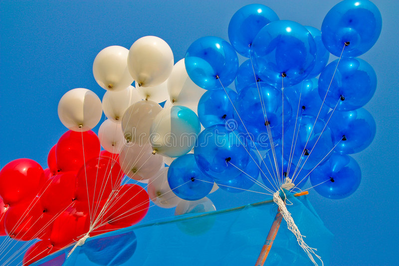 Three colors balloons. Three colors balloons, colorful in sport day of local primary school in Bangkok, Thailand stock image