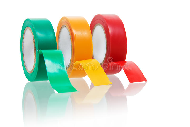 Three colors insulating tape on white stock photos