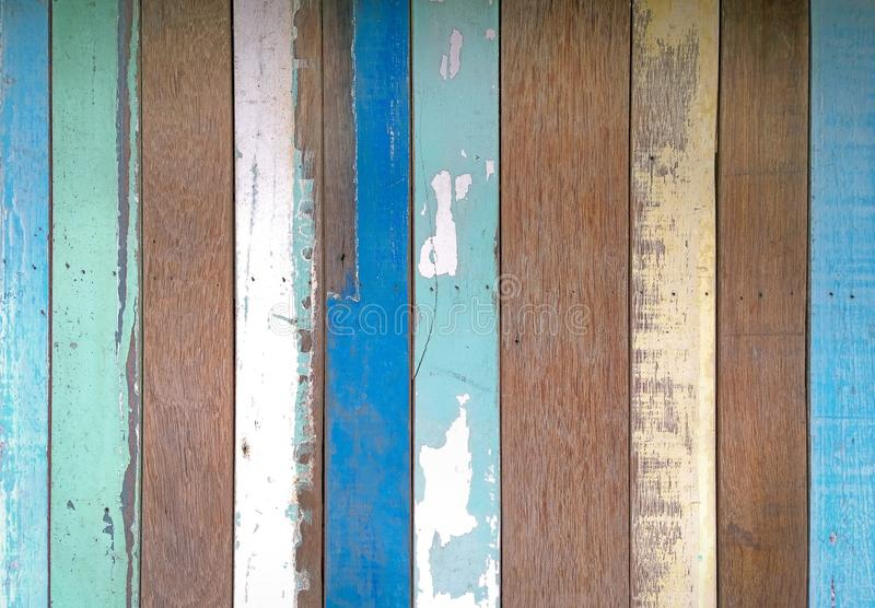 Three colors painted wood wall stock photo