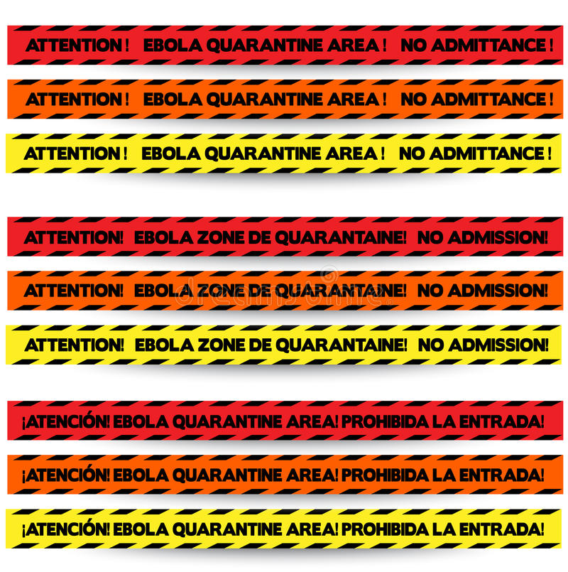 Three colors of tape to warn off people in Ebola outbreak zones, in English, French and Spanish respectively, with red, orange and. Yellow. Vector EPS-10 file stock images