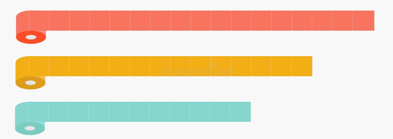 Three column toilet paper roll set line. Chart diagram. Dash line. Flat design. Infographic Template. White background. Isolated stock illustration