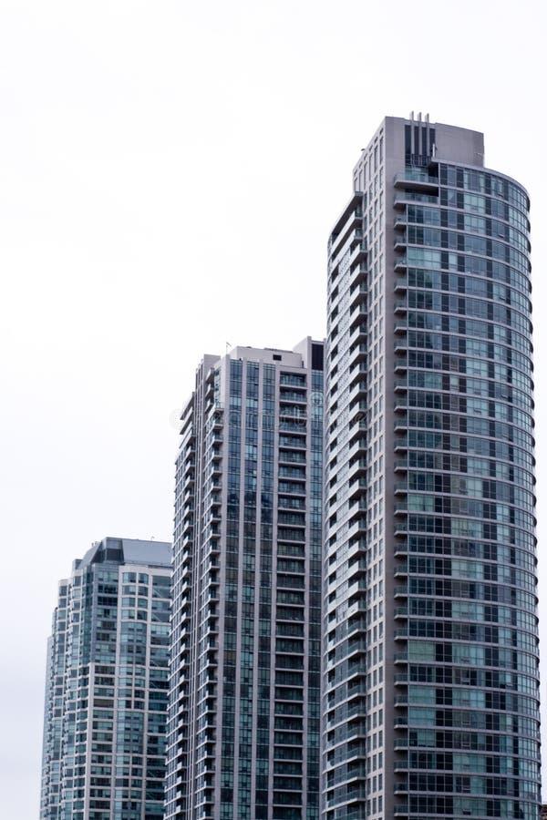 Three condominium buildings stock image