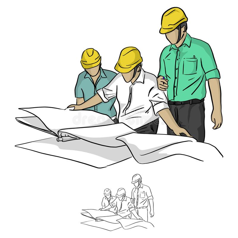 Three construction engineer looking at blueprint in constructio stock illustration