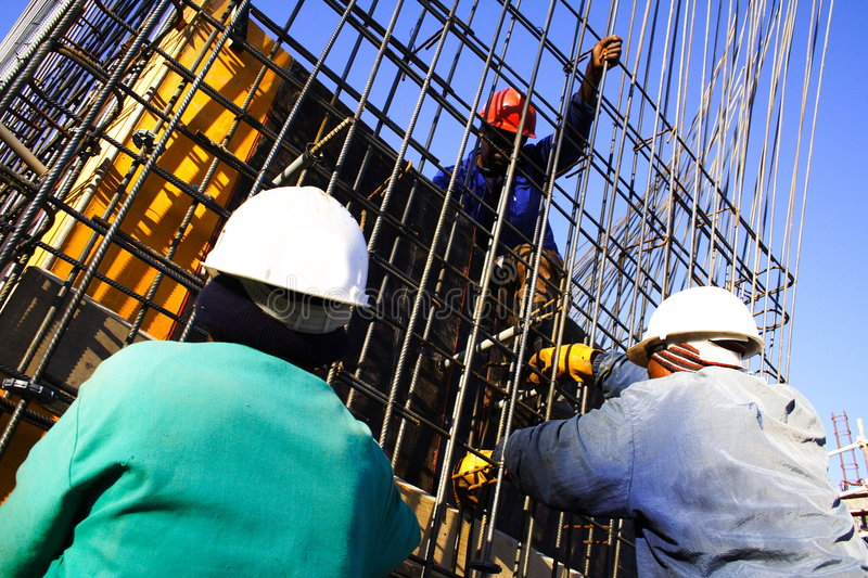 Download Three construction worker stock image. Image of blue, reinforcement - 902901