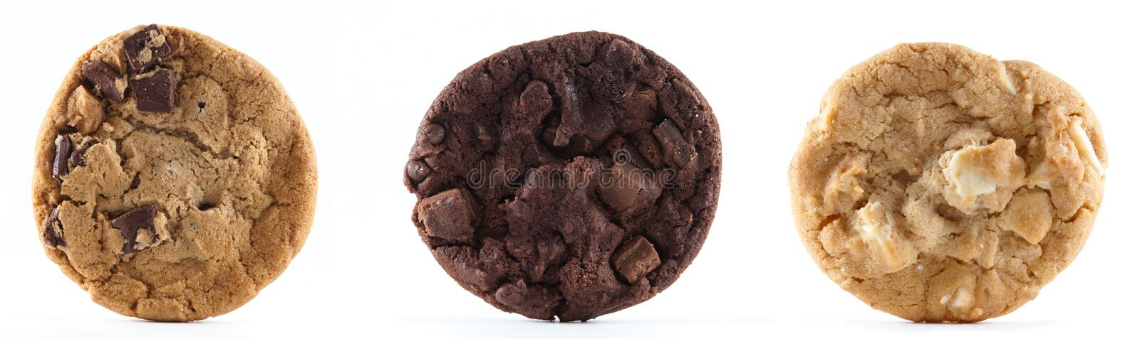 Three cookies against an isolated background royalty free stock photos