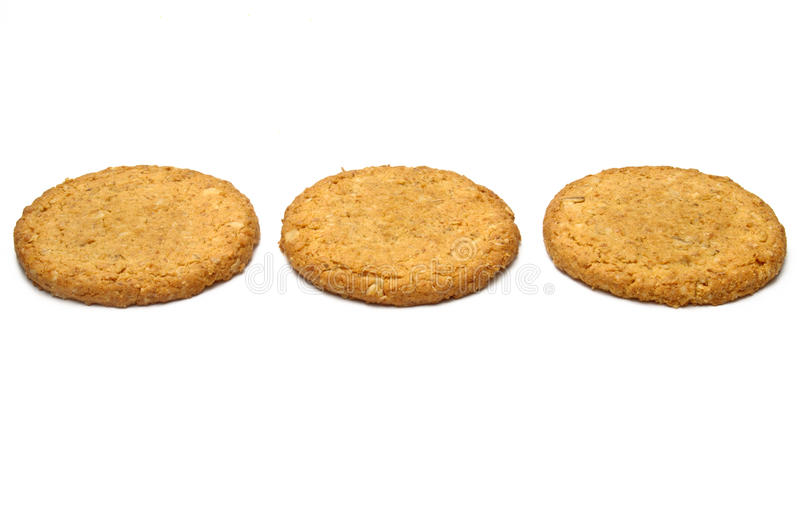 Three Cookies In A Row Stock Photos