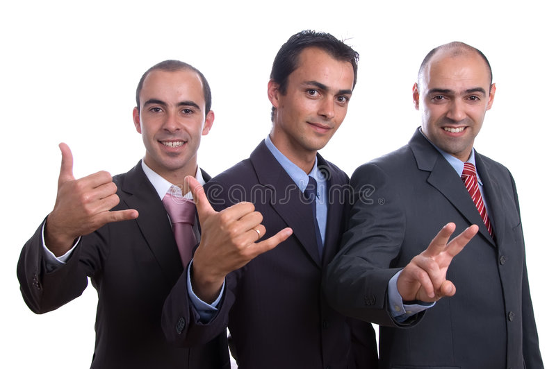Three cool business men royalty free stock image