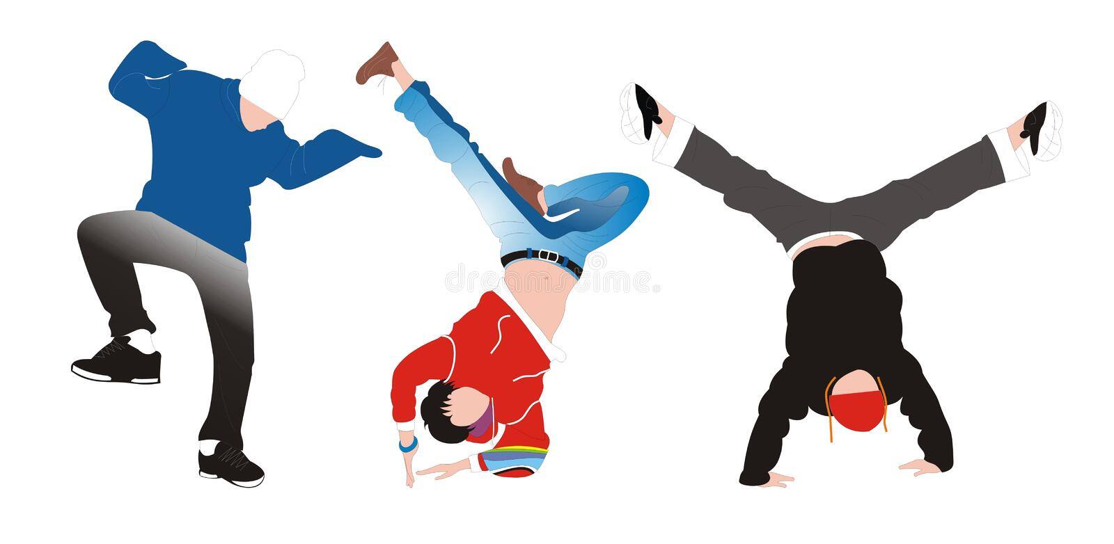 Three cool dancer. Three cool dancer posing on a white background stock illustration