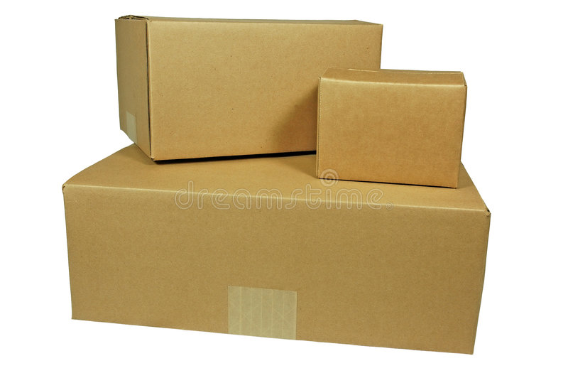 Three Corrugated Shipping Boxes (with clipping path) stock photography