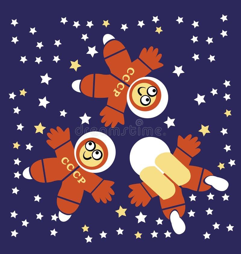 Three Cosmonauts. Vector illustration of three Cosmonauts royalty free illustration