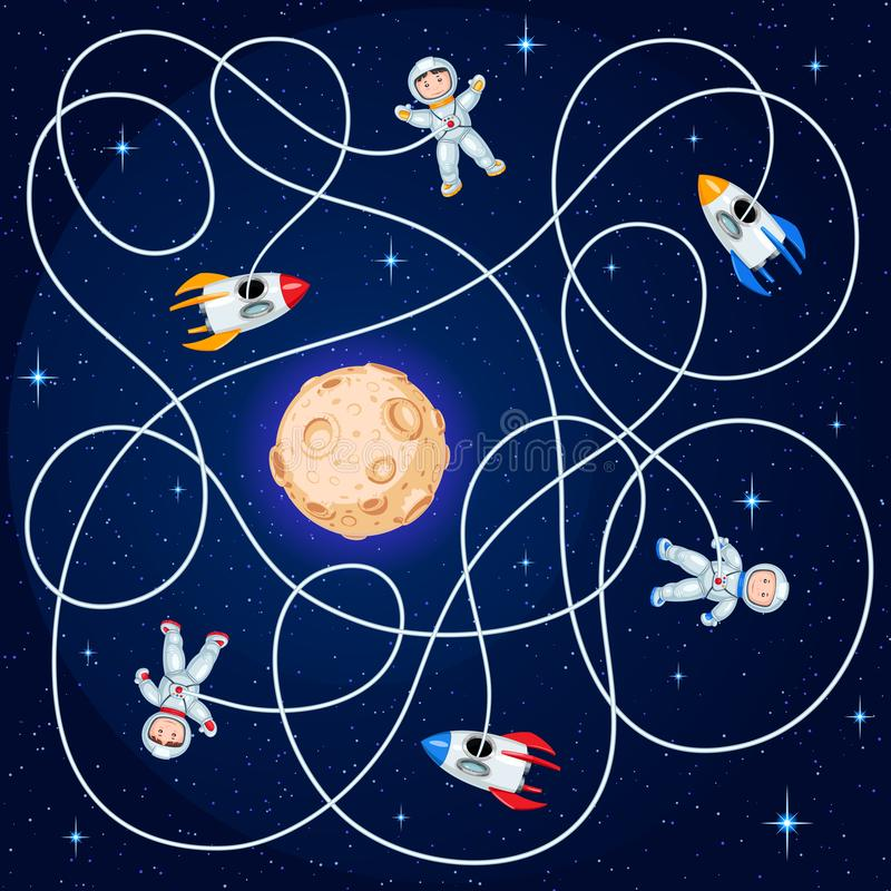 Three cosmonauts and three spacecraft are floating in open space around a yellow planet with craters. Unravel the hoses and guess where is the ship? Children`s stock illustration