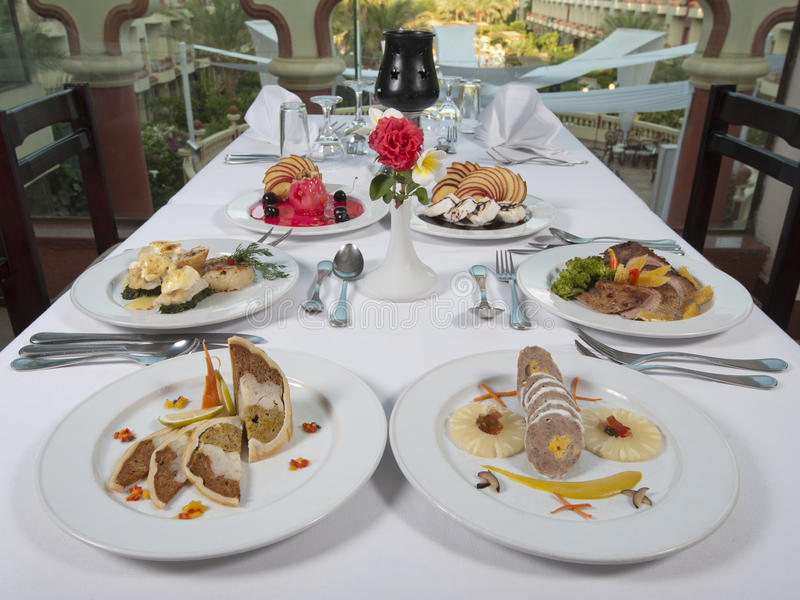 Three course meals in an a la carte restaurant stock photo
