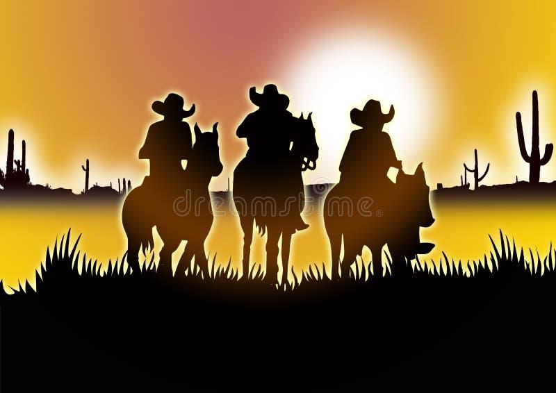 three Cowboy vector illustration