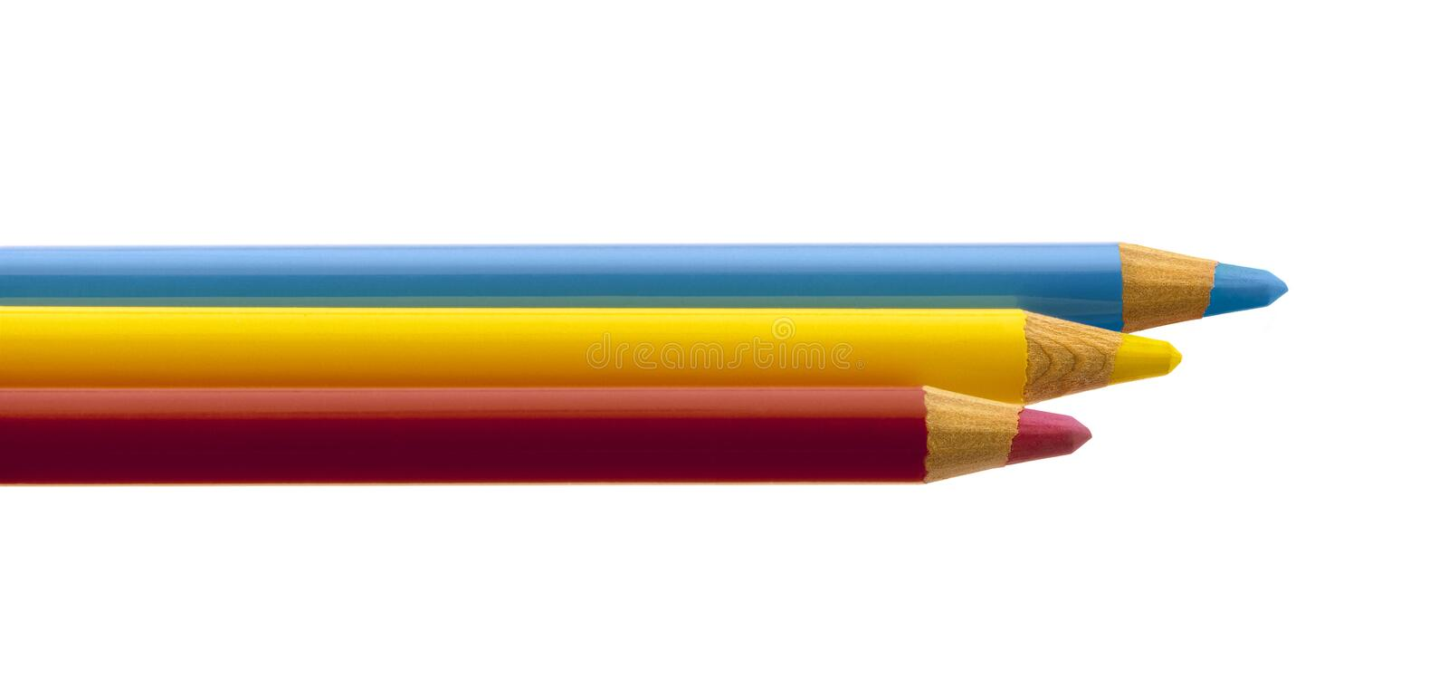 Three crayons on white background stock photography