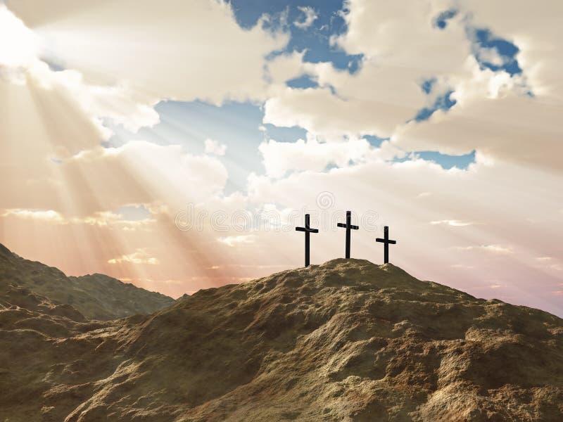 Three cross on Calvary hill royalty free stock photography