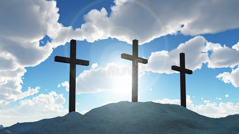 Three cross on Calvary hill. 3d stock photography