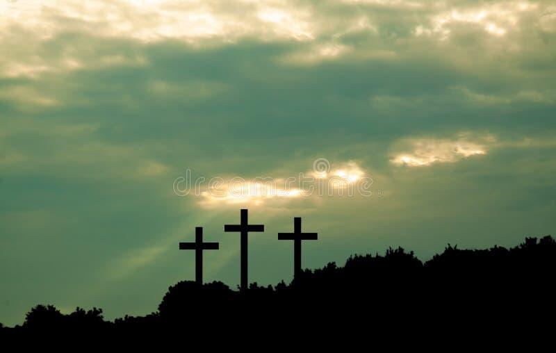 Three cross on sky background stock image