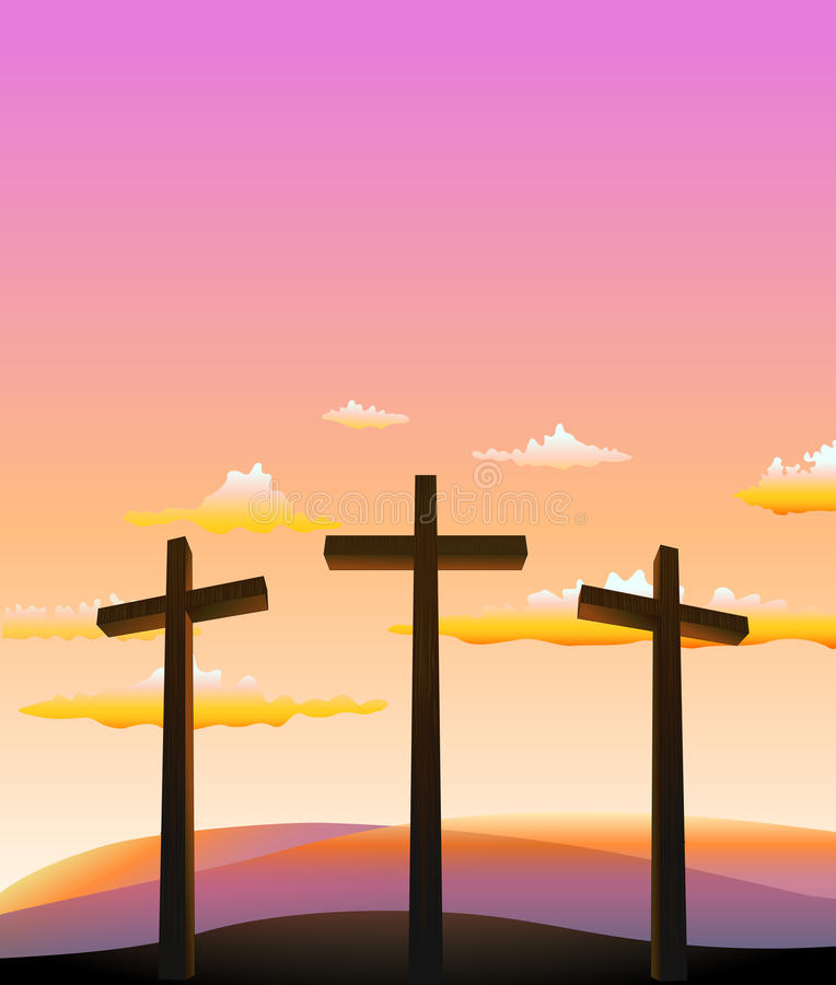 Three crosses on the Calvary. Abstract background royalty free illustration