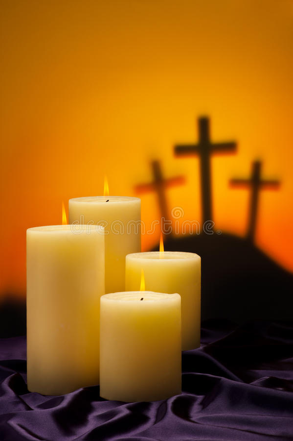 Three crosses candles of hope stock photography