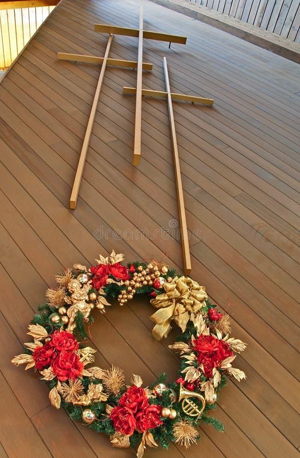 Three Crosses With Christmas Wreath