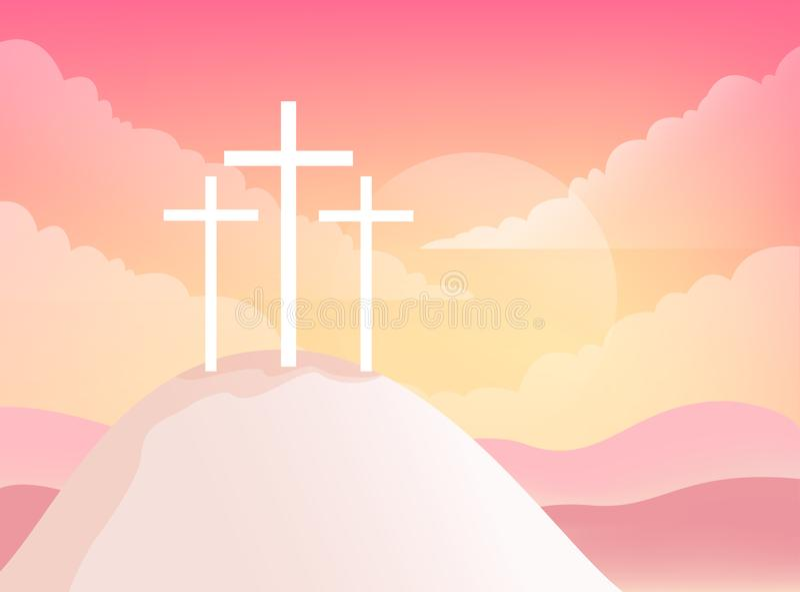 Three Crosses on Golgotha Mountain. Christian Easter Vector Illustration royalty free illustration