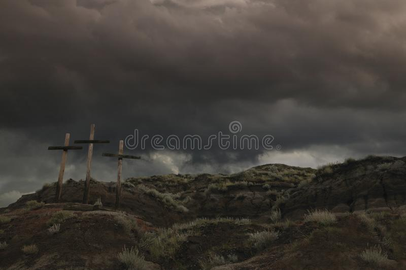 Download Three Crosses On A Hill stock photo. Image of resurrection - 17066224
