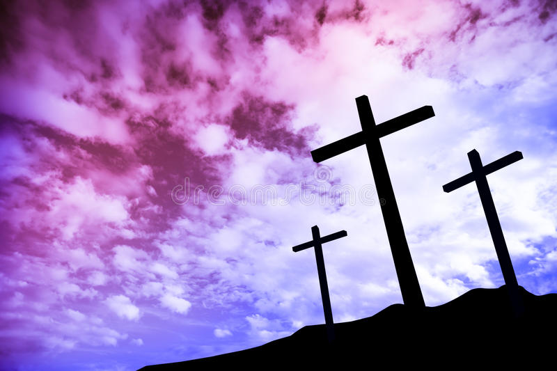 Three crosses on a hill royalty free stock photos
