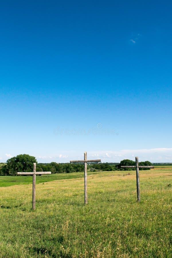 Three Crosses in Kansas royalty free stock photography