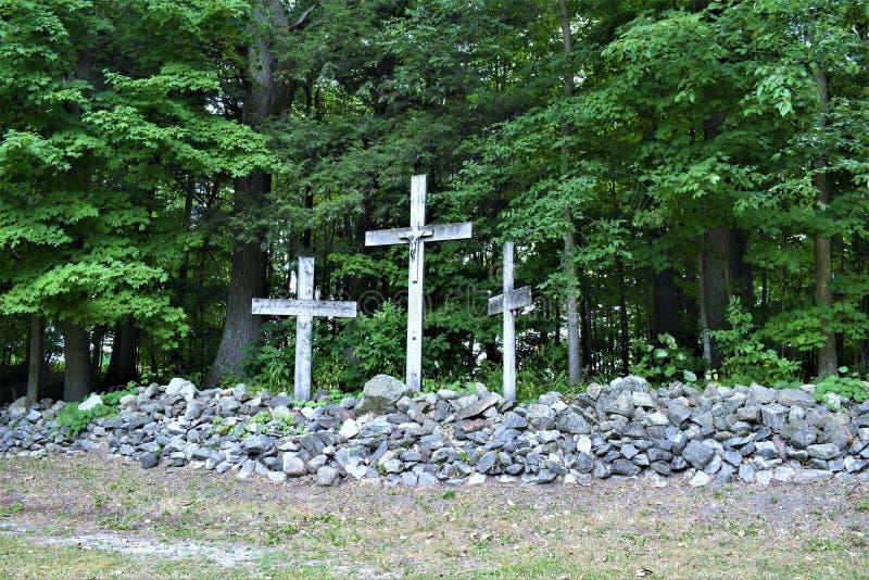 Saint Anne`s Shrine, St. Anne's Shrine, Isle La Motte, Grand Island County, Vermont, United States US. Lake Champlain region. Three crosses , located on royalty free stock photo