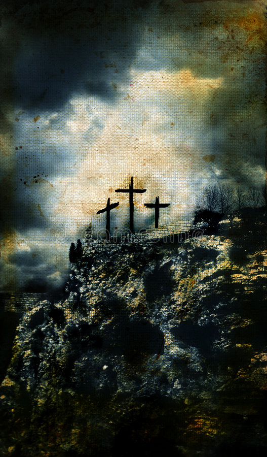 Free Three Crosses On Golgotha Grunge Background Royalty Free Stock Photography - 6892397