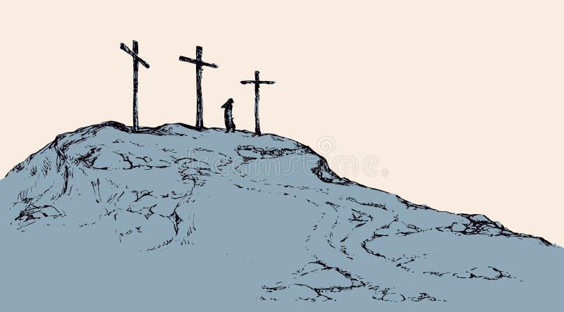 Three crosses stand on  light sky backdrop vector illustration