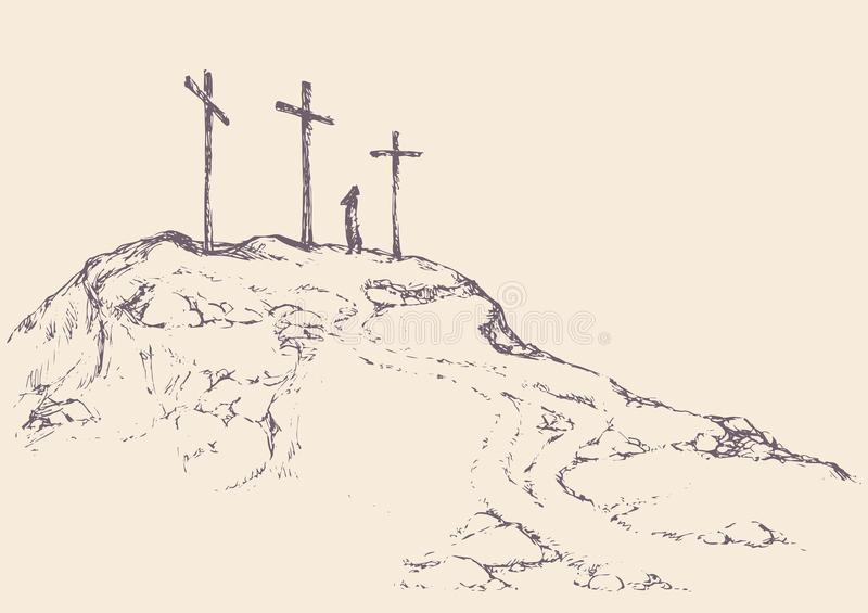 Three crosses stand on light sky backdrop stock illustration