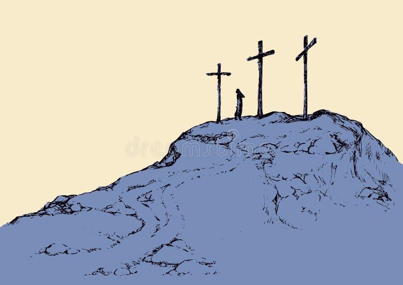 Three crosses stand on light sky backdrop royalty free illustration