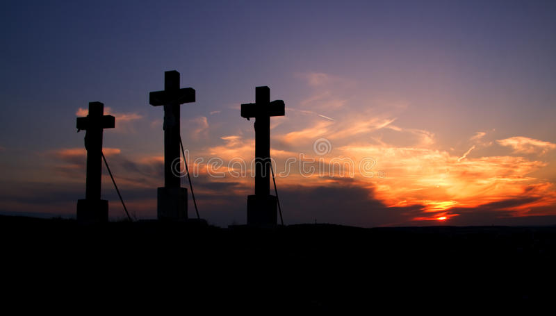 Download Three crosses on sunset. stock photo. Image of forgiveness - 13388608