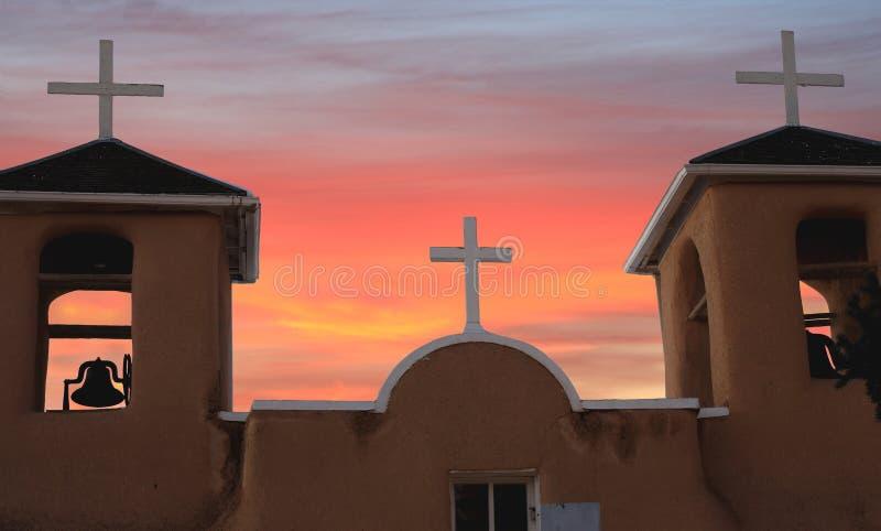 Three crosses at Taos, New Mexico stock image