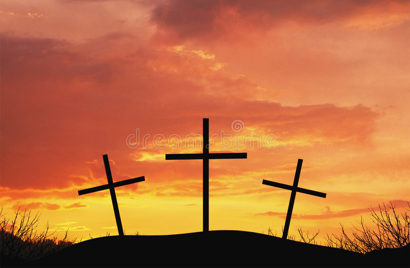 Three crosses on top af hill royalty free stock photos