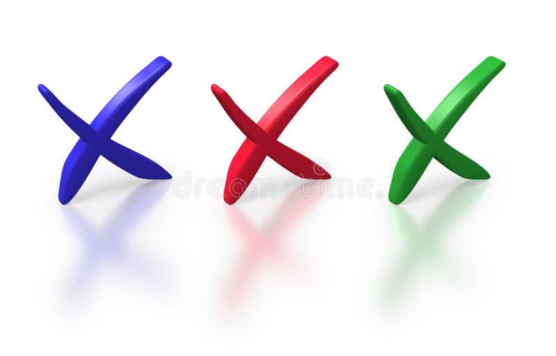 Download Three Crosses On White Background Stock Illustration - Illustration of negative, mark: 18936162