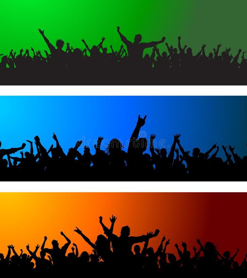 Download Three Crowd scenes stock vector. Image of dance, male - 19932209