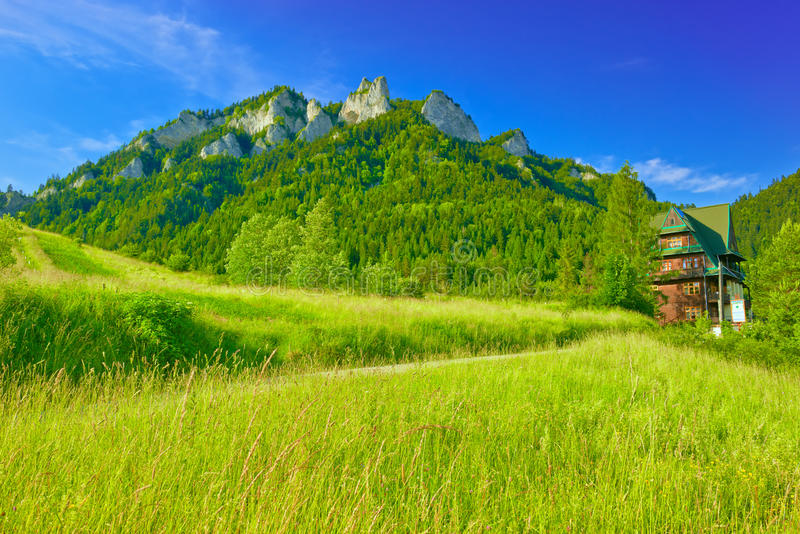 Three Crowns Massif in The Pieniny Mountains. Shelter near The Three Crowns Massif in The Pieniny Mountains stock photo