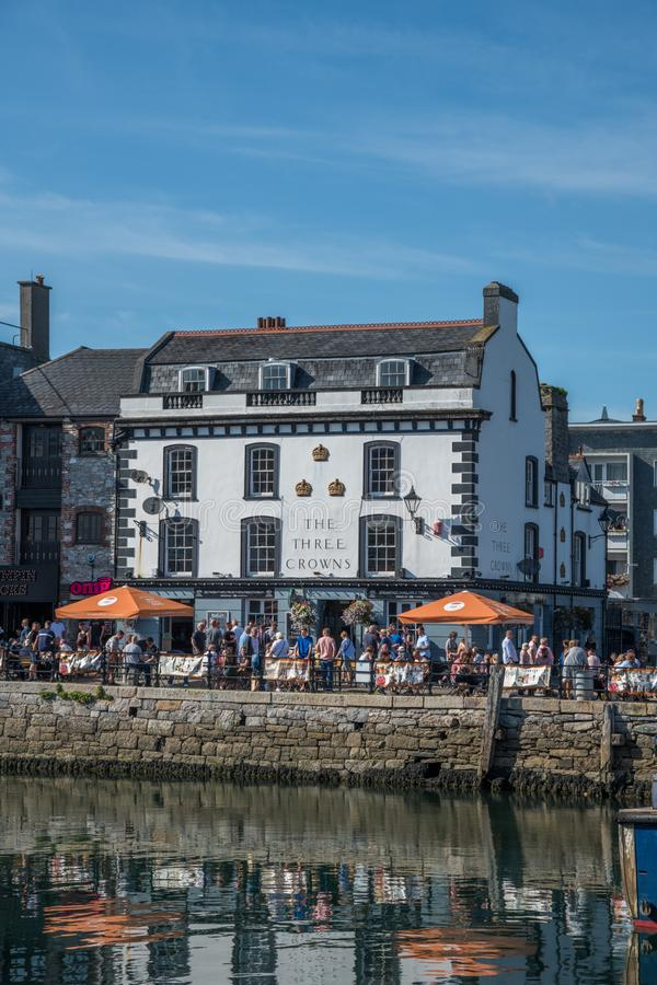 The Three Crowns Public House. On the waterfront of the Barbican Plymouth Devon England stock image