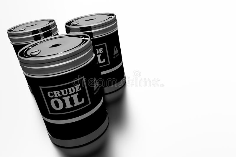 Three Crude Oil Barrels. 3D Rendered Illustration. Oil and Refinery Concept royalty free illustration