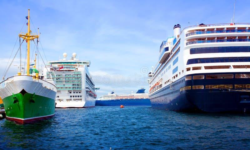 Three cruise ships royalty free stock photo