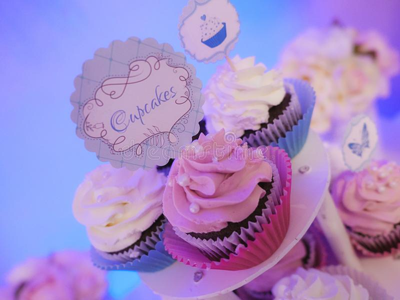 Special occasion trio of cupcakes on a tiered cake display with pink and white frosted cream. Three cupcakes on a tiered cake display with pink and white frosted royalty free stock images