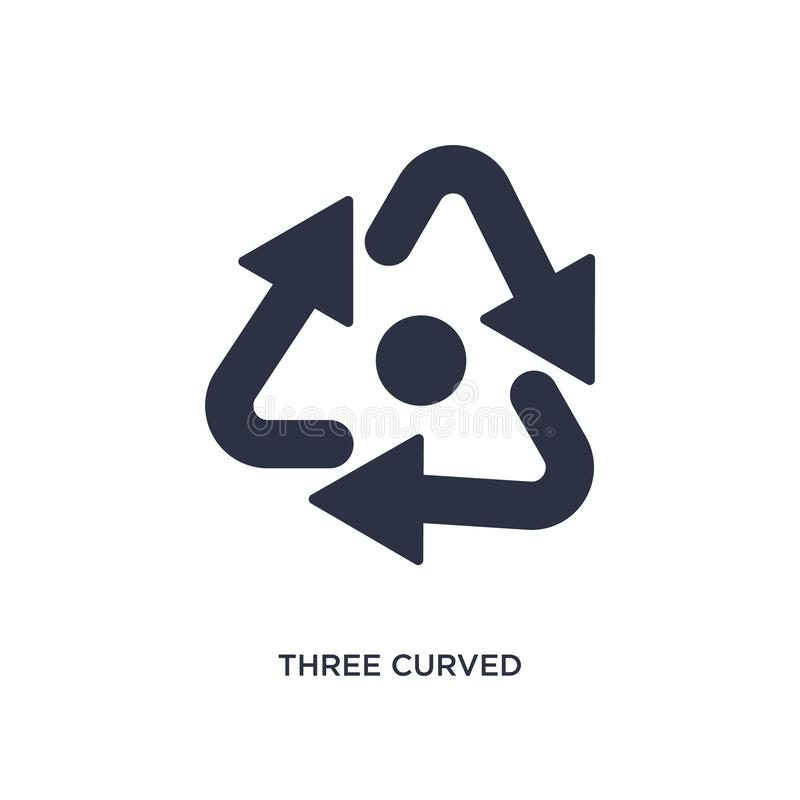 three curved arrows icon on white background. Simple element illustration from arrows concept vector illustration