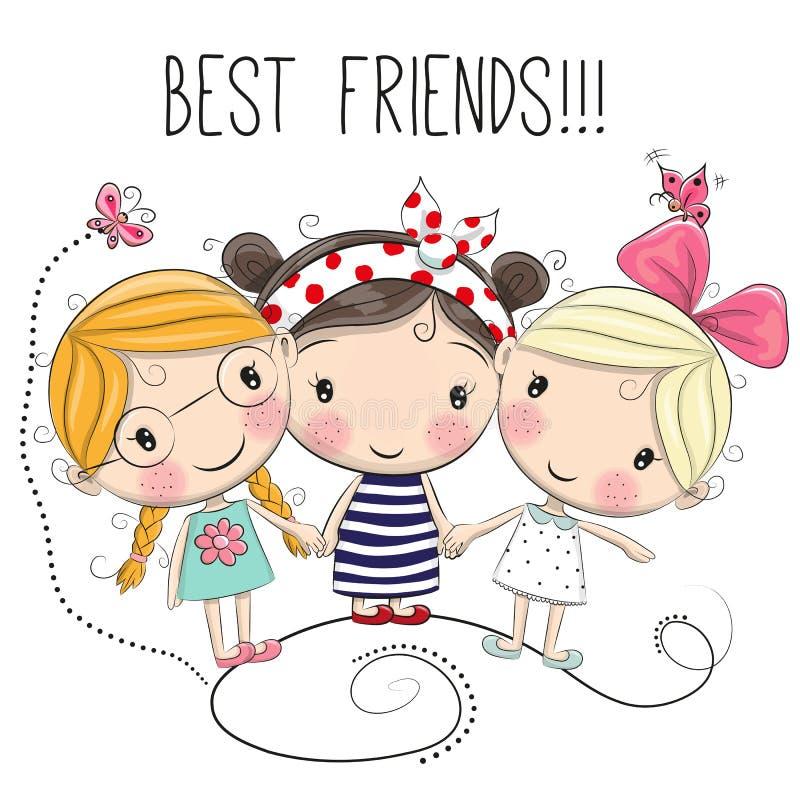 Three Cute cartoon girls. On a white background royalty free illustration