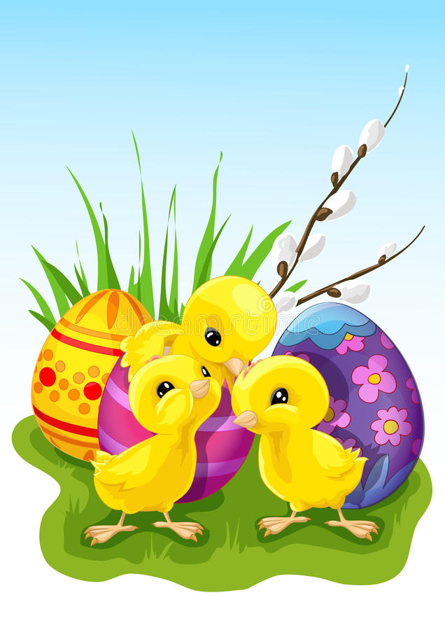 Three cute chickens in front of Easter eggs stock image